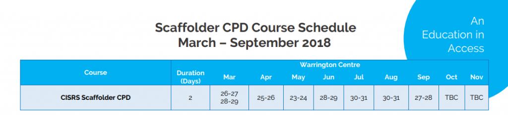 scaffolder CPD course schedule
