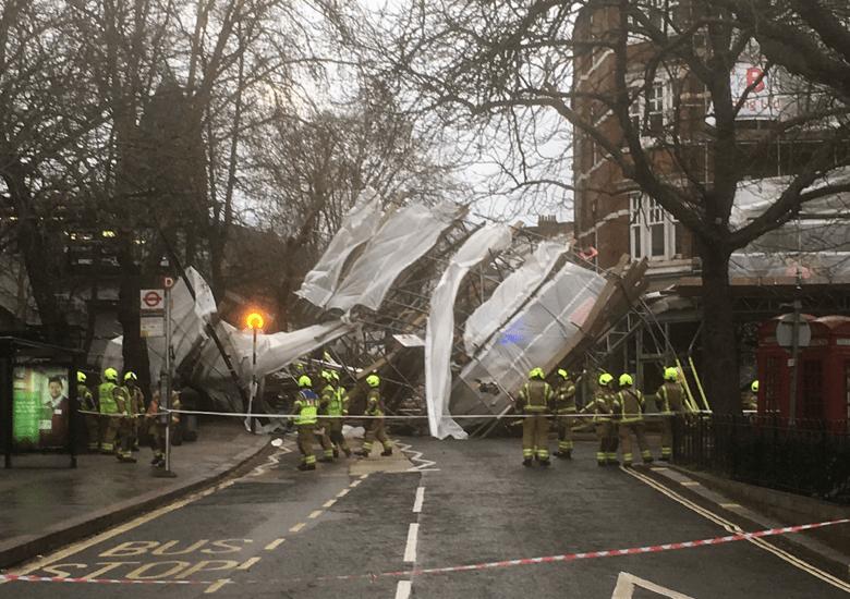 Storm gareth scaffolding collapse