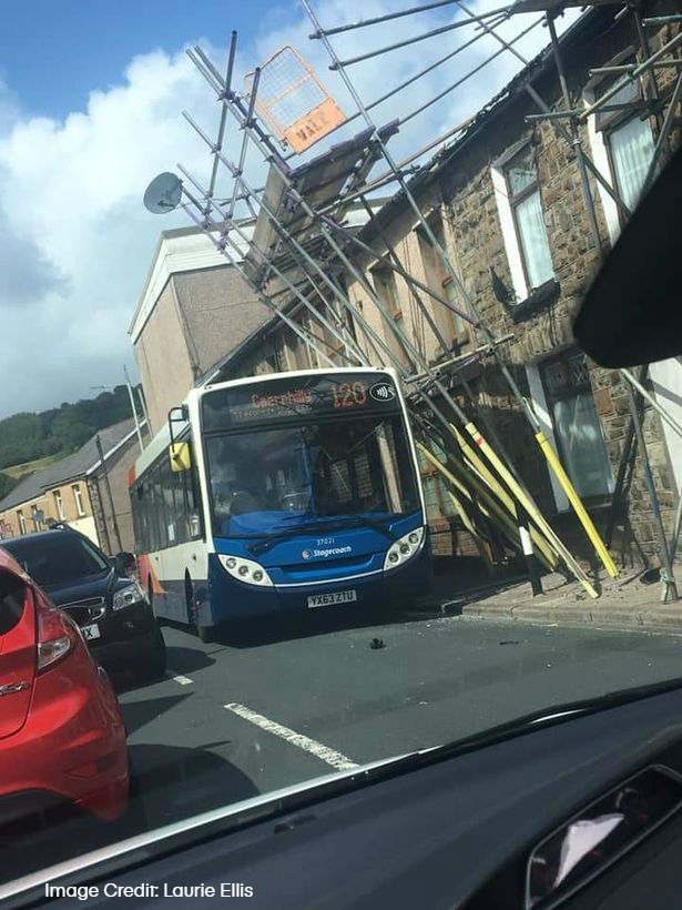 Bus hits scaffolding