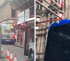 Bus crashes into scaffolding